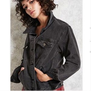 Forever 21 Oversized Denim Jacket in Faded Black